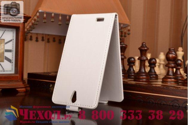 Фирменный оригинальный вертикальный откидной чехол-флип для Philips Xenium V387 белый кожаный