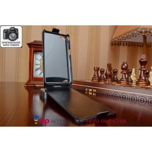 """Фирменный оригинальный вертикальный откидной чехол-флип для Philips Xenium W6610 черный из качественной импортной кожи """"Prestige"""" Италия"""