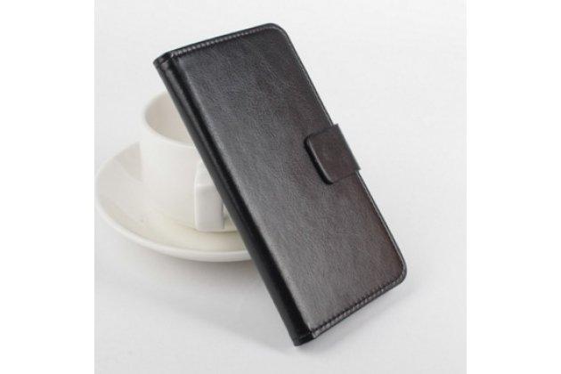 Фирменный чехол-книжка из качественной импортной кожи с мульти-подставкой застёжкой и визитницей для Филипс Ксениум Вэ737 черный