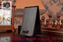 """Фирменный оригинальный вертикальный откидной чехол-флип для Philips Xenium W737 черный кожаный """"Prestige"""" Италия"""