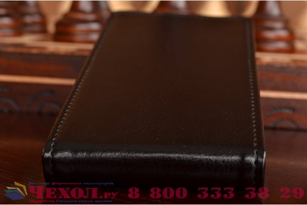"""Фирменный оригинальный вертикальный откидной чехол-флип для Philips Xenium W832 черный кожаный """"Prestige"""" Италия"""