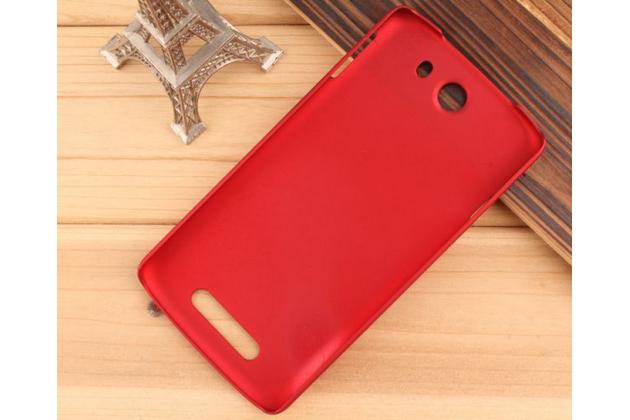Фирменная задняя панель-крышка-накладка из тончайшего и прочного пластика для Philips I928 красная
