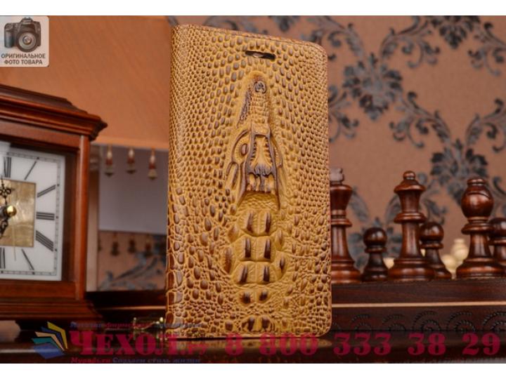 Фирменный роскошный эксклюзивный чехол с объёмным 3D изображением кожи крокодила коричневый для Philips I928  ..