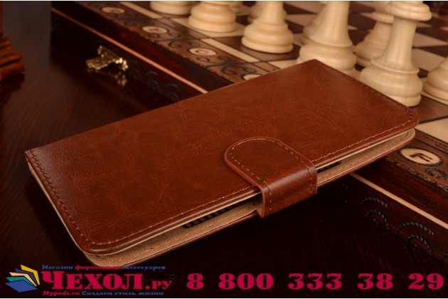 Фирменный чехол-книжка из кожи с мульти-подставкой застёжкой и визитницей для Philips Xenium V387 коричневый