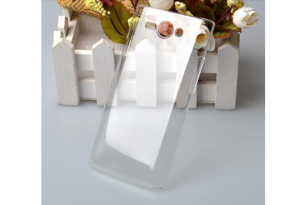 Фирменная задняя панель-крышка-накладка из тончайшего и прочного пластика для Philips S388 прозрачная