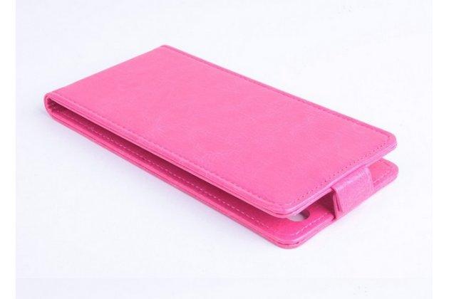 """Фирменный оригинальный вертикальный откидной чехол-флип для Philips Xenium I908 розовый кожаный """"Prestige"""" Италия"""