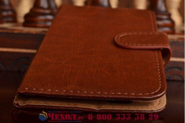 Фирменный чехол-книжка из качественной импортной кожи с мульти-подставкой застёжкой и визитницей для Филипс Ксениум И908  коричневый