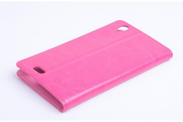 Фирменный чехол-книжка из качественной импортной кожи с мульти-подставкой застёжкой и визитницей для Филипс Ксениум И908 розовый