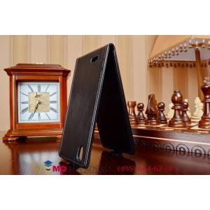 """Фирменный оригинальный вертикальный откидной чехол-флип для Philips Xenium I908 черный из качественной импортной кожи """"Prestige"""" Италия"""