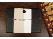 Чехол-обложка для PiPO M6 черный с серой полосой кожаный..