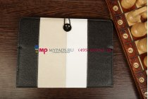 Чехол-обложка для PiPO M6 черный с серой полосой кожаный