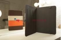Чехол-обложка для PiPO M6 коричневый с оранжевой полосой кожаный