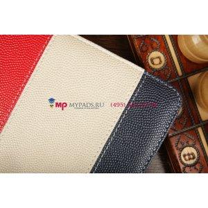 Чехол-обложка для PiPO U8 синий с красной полосой кожаный
