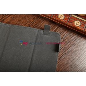 Чехол-обложка для PiPO M9 3G коричневый с оранжевой полосой кожаный