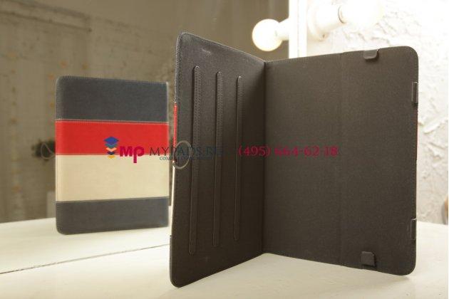 Чехол-обложка для PiPO M9 3G синий с красной полосой кожаный