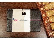 Чехол-обложка для PocketBook SURFpad 2 черный с серой полосой кожаный..