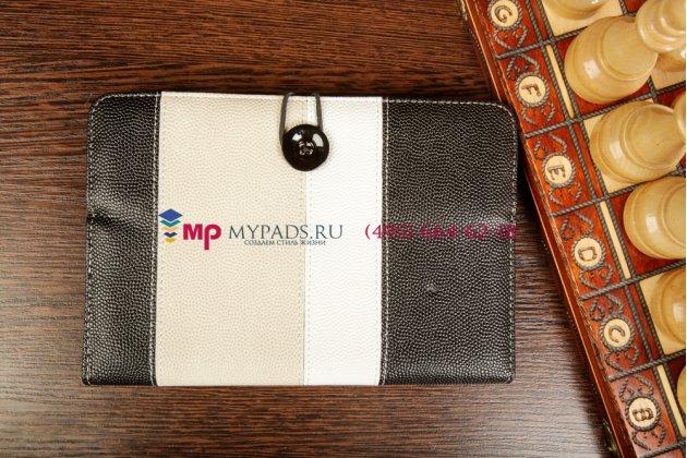 Чехол-обложка для PocketBook SURFpad 2 черный с серой полосой кожаный