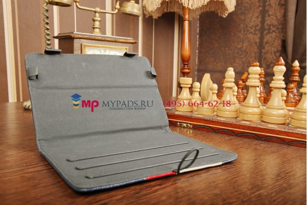 Чехол-обложка для PocketBook SURFpad 2 синий с красной полосой кожаный