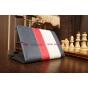 Чехол-обложка для PocketBook SURFpad 2 синий с красной полосой кожаный..