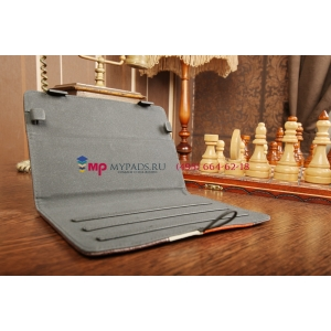 Чехол-обложка для Prestigio MultiPad 2 PMP7280C 3G коричневый с оранжевой полосой кожаный