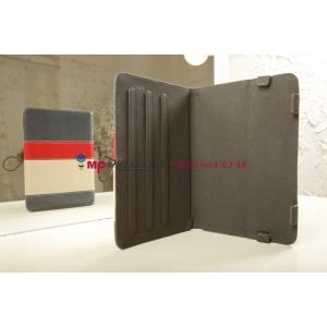 Чехол-обложка для Prestigio MultiPad 2 PMP7280C 3G синий с красной полосой кожаный