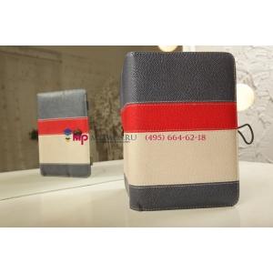 Чехол-обложка для Prestigio MultiPad PMP5880D синий с красной полосой кожаный