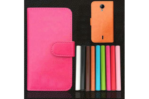 """Фирменный чехол-книжка для  Prestigio MultiPhone PAP 3502 DUO 5.0"""" с визитницей и мультиподставкой коричневый кожаный"""