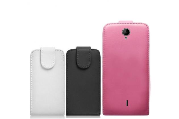 """Фирменный оригинальный вертикальный откидной чехол-флип для Prestigio MultiPhone PAP 3502 DUO 5.0""""  черный кожаный"""