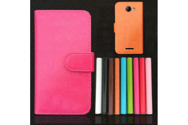 """Фирменный чехол-книжка для  Prestigio MultiPhone 5507 DUO 5.0"""" с визитницей и мультиподставкой коричневый кожаный"""