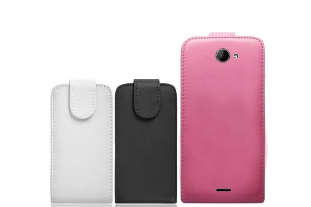"""Фирменный оригинальный вертикальный откидной чехол-флип для Prestigio MultiPhone 5507 DUO 5.0"""" черный кожаный"""