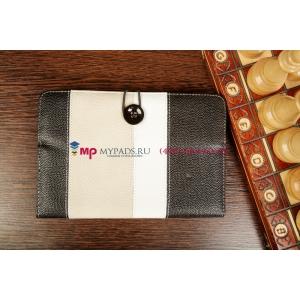 Чехол-обложка для Prestigio MultiPad PMP5588C черный с серой полосой кожаный