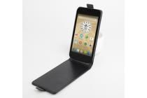 """Фирменный оригинальный вертикальный откидной чехол-флип для Prestigio MultiPhone 5044 Duo 5.0"""" черный кожаный"""