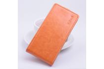 """Фирменный оригинальный вертикальный откидной чехол-флип для Prestigio MultiPhone 5044 Duo 5.0"""" оранжевый кожаный"""
