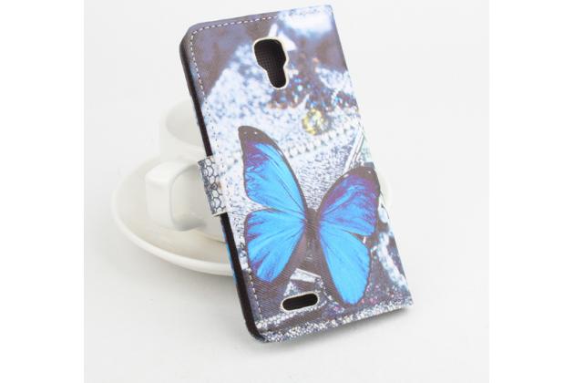 """Фирменный уникальный необычный чехол-книжка для Prestigio MultiPhone 5044 Duo 5.0"""" """"тематика радужные Бабочки"""""""