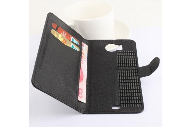 """Фирменный чехол-книжка для Prestigio MultiPhone 5300 DUO 5.3"""" с визитницей и мультиподставкой черный кожаный"""