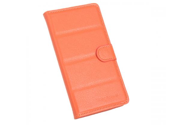 """Фирменный чехол-книжка из качественной импортной кожи с подставкой застёжкой и визитницей для Prestigio MultiPhone 5300 DUO 5.3"""" оранжевый"""