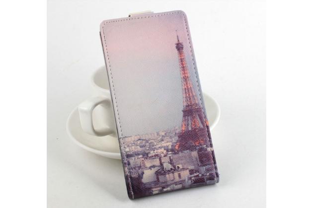 """Фирменный вертикальный откидной чехол-флип для Prestigio MultiPhone 5300 DUO 5.3"""" """"тематика Париж"""""""
