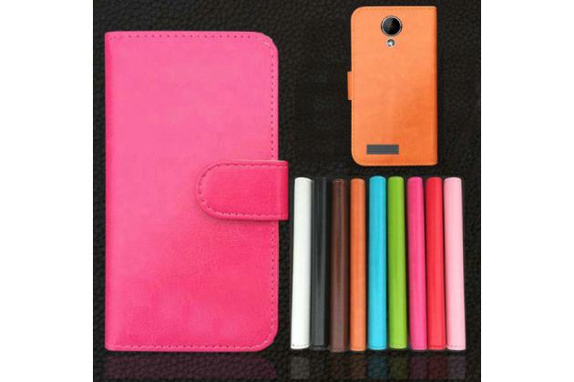 """Фирменный чехол-книжка для Prestigio MultiPhone PAP5501 5.0""""  с визитницей и мультиподставкой черный кожаный"""