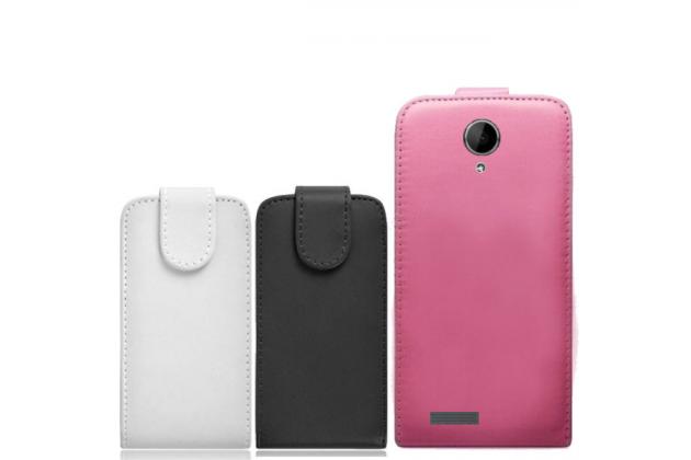 """Фирменный оригинальный вертикальный откидной чехол-флип для Prestigio MultiPhone PAP5501 5.0""""  черный кожаный"""