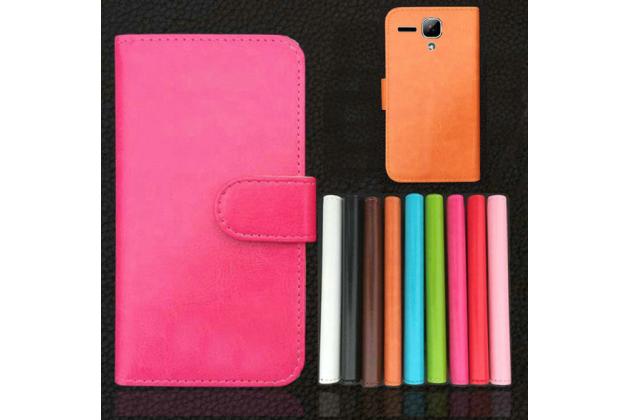 """Фирменный чехол-книжка для  Prestigio MultiPhone PAP5503 DUO""""  с визитницей и мультиподставкой коричневый кожаный"""
