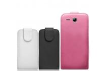 """Фирменный оригинальный вертикальный откидной чехол-флип для Prestigio MultiPhone PAP5503 DUO""""  черный кожаный"""
