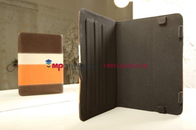 Чехол-обложка для Prestigio Multipad PMP3670B коричневый с оранжевой полосой кожаный
