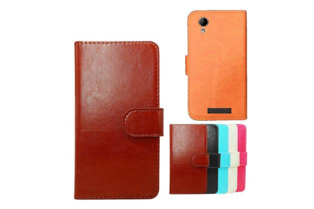 """Фирменный чехол-книжка для  Prestigio Multiphone 5453 DUO 4.5"""" с визитницей и мультиподставкой коричневый кожаный"""