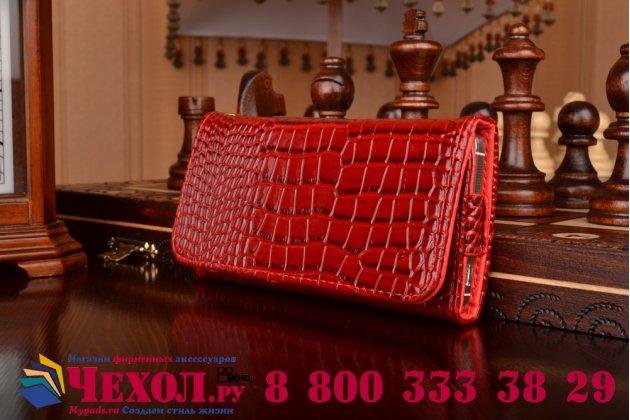Фирменный роскошный эксклюзивный чехол-клатч/портмоне/сумочка/кошелек из лаковой кожи крокодила для телефона Prestigio Grace Q5. Только в нашем магазине. Количество ограничено