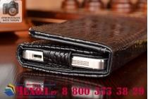 Фирменный роскошный эксклюзивный чехол-клатч/портмоне/сумочка/кошелек из лаковой кожи крокодила для телефона Prestigio Wize N3. Только в нашем магазине. Количество ограничено