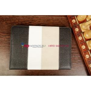 Чехол-обложка для Prology Evolution Tab-1000 3G HD черный с серой полосой кожаный