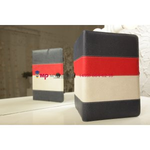 Чехол-обложка для Prology Evolution Tab-1000 3G HD синий с красной полосой кожаный
