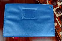 Фирменный оригинальный чехол-обложка для Qumo Sirius 890 с вырезом под камеру голубой