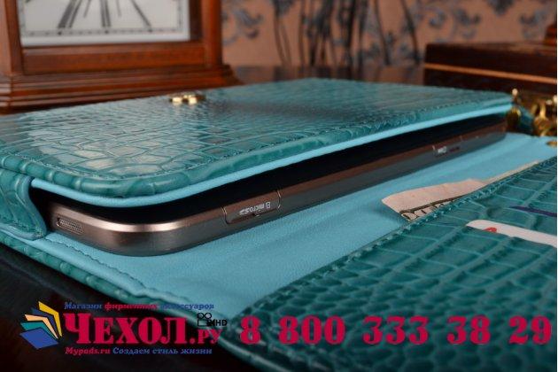 Фирменный роскошный эксклюзивный чехол-клатч/портмоне/сумочка/кошелек из лаковой кожи крокодила для планшета RoverPad Pro Q8 LTE. Только в нашем магазине. Количество ограничено.