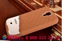 """Фирменная необычная уникальная полимерная мягкая задняя панель-чехол-накладка для Samsung Galaxy S4 GT-i9500/i9505 """"тематика Андроид в тёмном Шоколаде"""""""